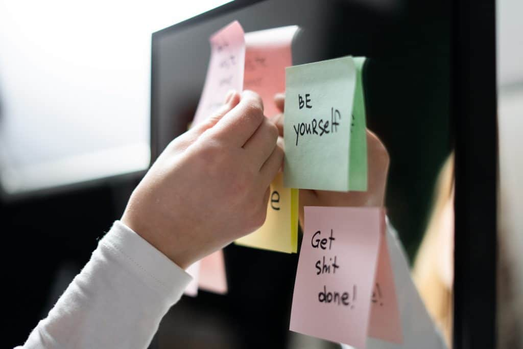 Sticky note that says BE YOURSELF